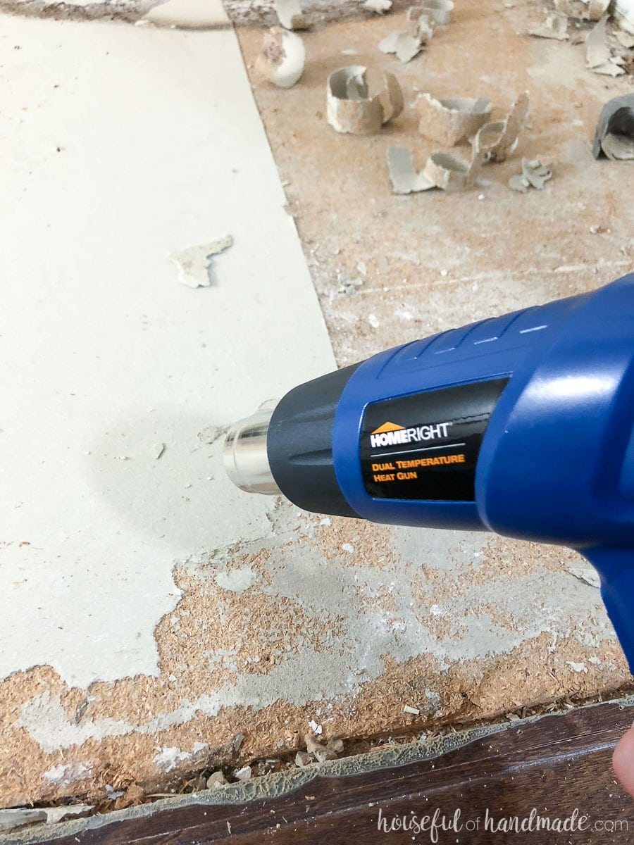 Use the HomeRight heat gun to soften the old linoleum glue to remove it easily.