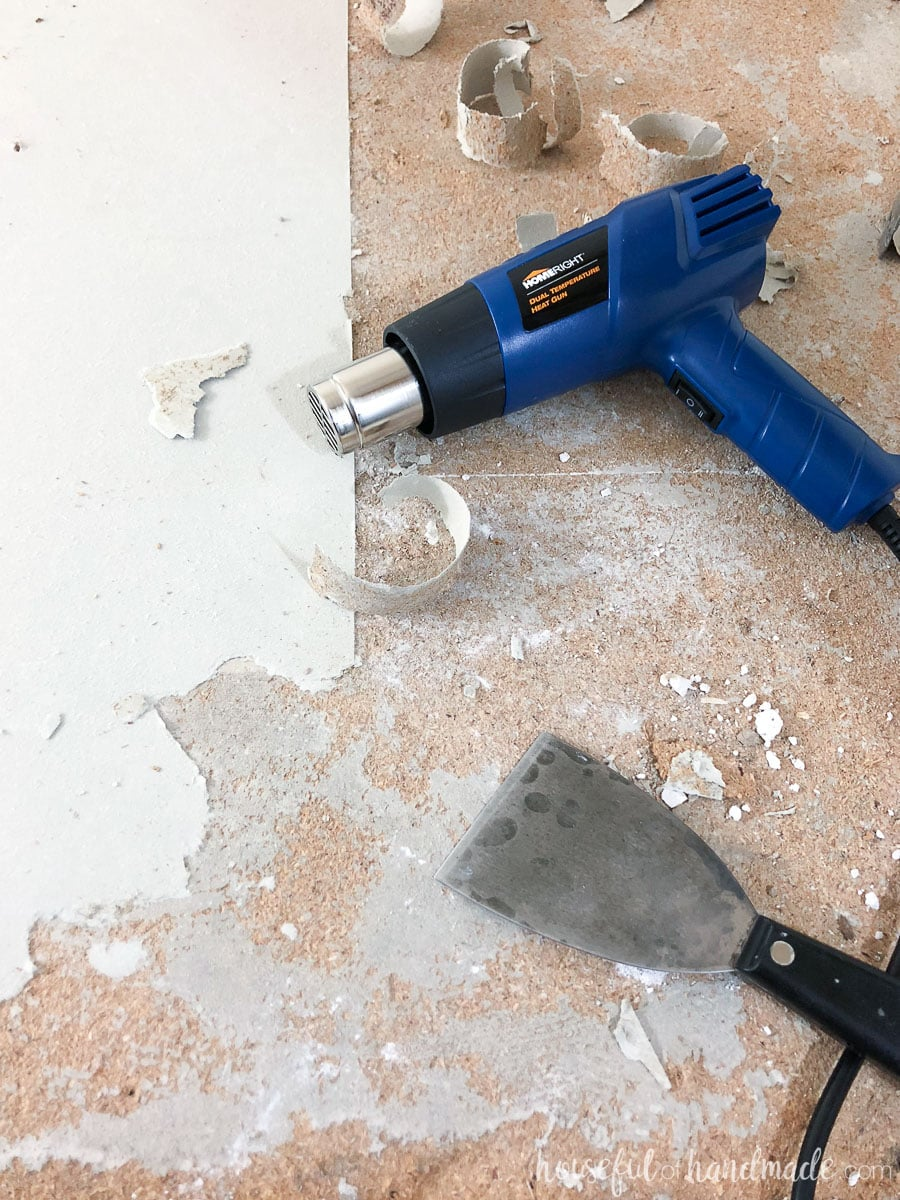 Learn how to easily remove old linoleum with a heat gun. Get ready for your next remodel.