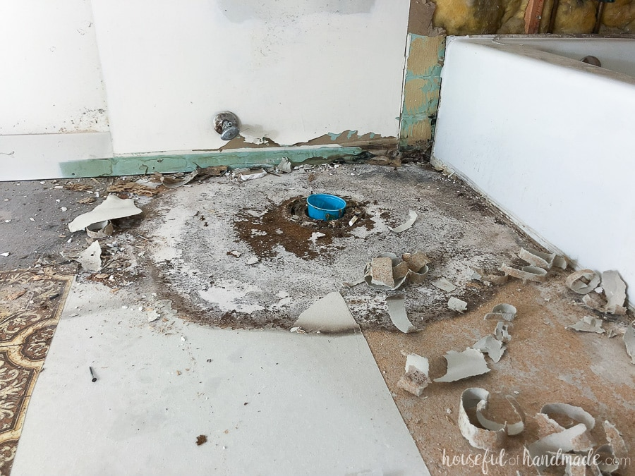 Under the linoleum we found water damage on the subfloor. Yikes!