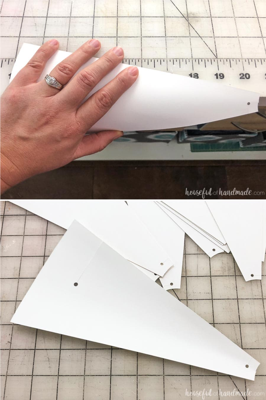 Roll the paper windmill blades over the edge of a table to give it a curve