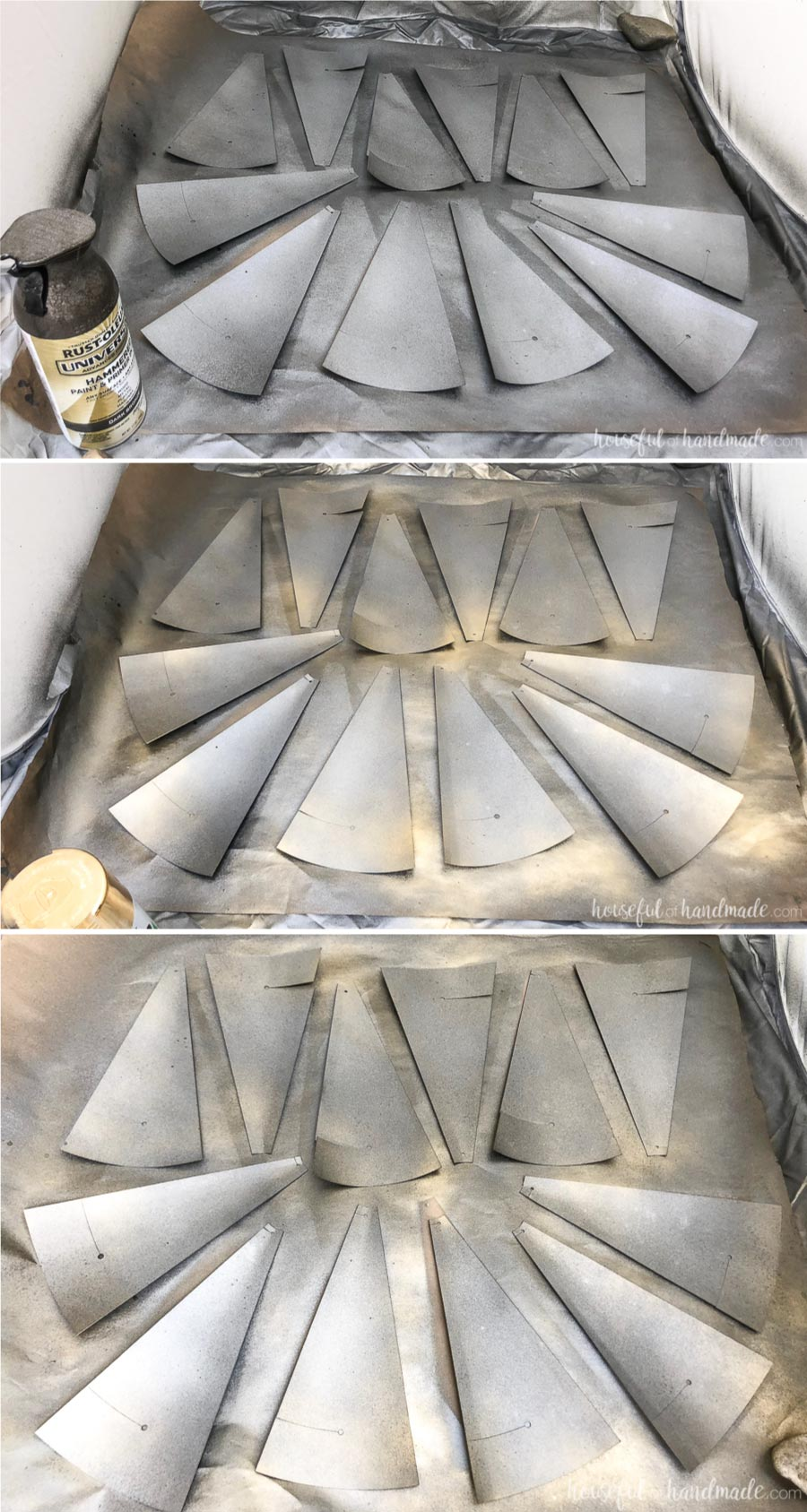 Showing the different layers of spray paint on the windmill blades to create a rustic decorative windmill.