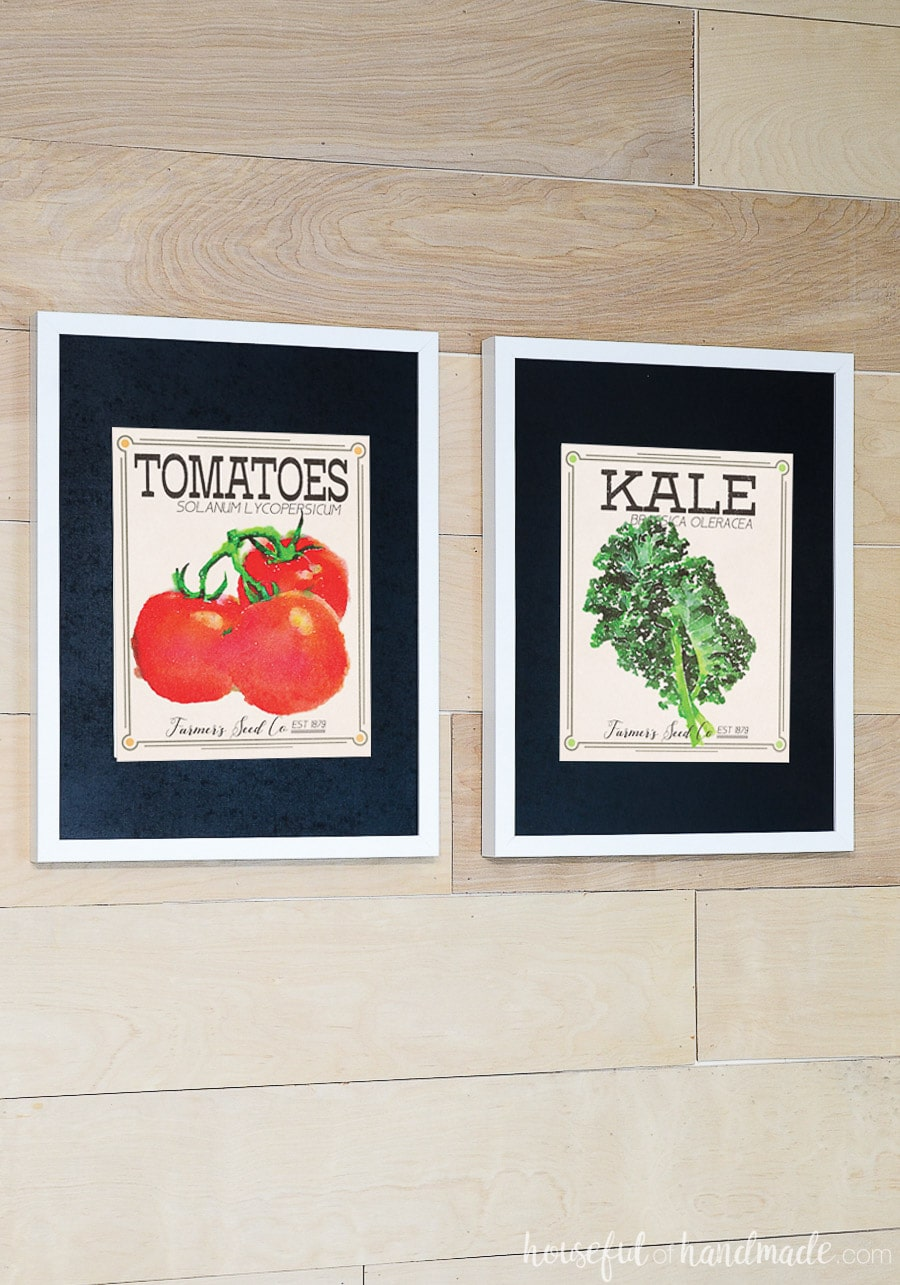 Tomato and kale seed packets turned into printable art for the home.