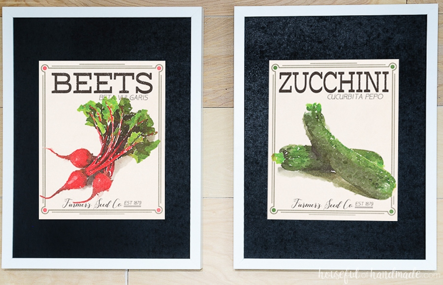 Printable vegetable art of beet and zucchini vintage seed packets.