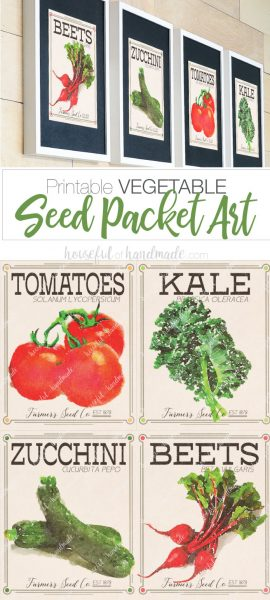 Not ready for pumpkins? Decorate for early fall with these vegetable seed packet art prints. Download them today at Housefulofhandmade.com | #printable #seedpacket #vegetableart #fallprintable