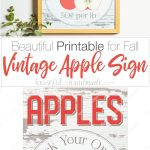 Vintage inspired apple picking sign in a frame.