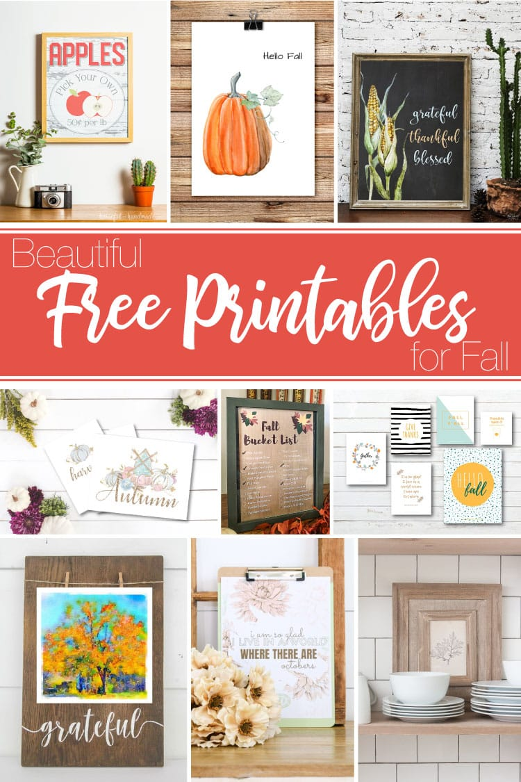 9 images with different fall printables on them.