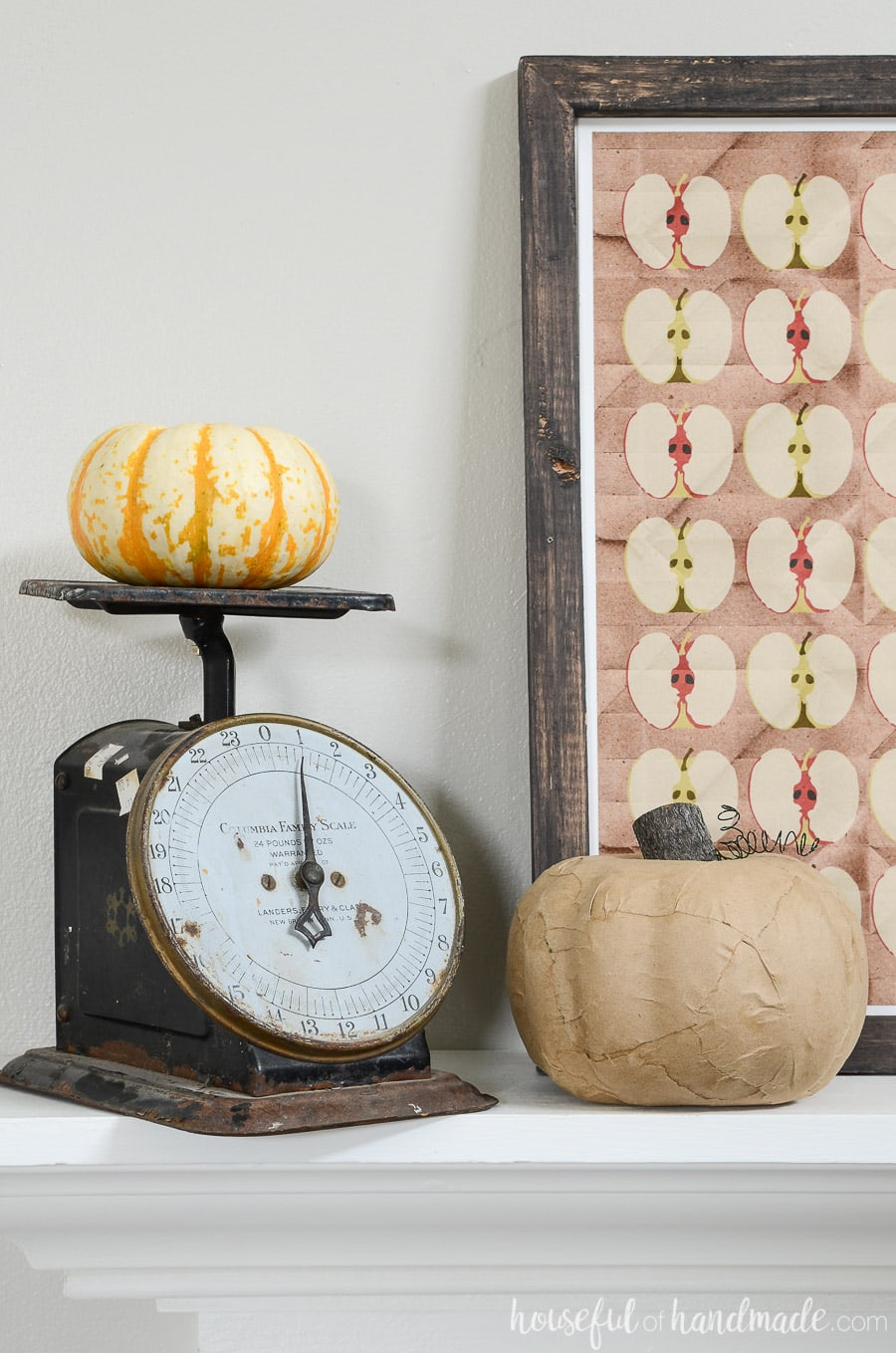 Vintage scale with pumpkins are perfect for a classic fall mantel.