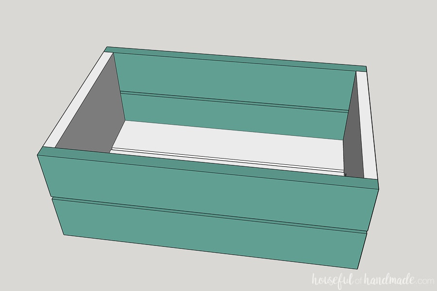 Step 2 to build a decorative wood wagon: Attach the side boards.