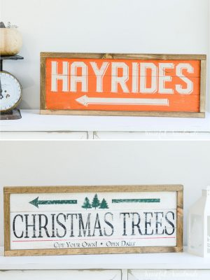 Double-sided wood sign. One sign with Hayrides sign for fall and the other side with Christmas tree farm sign for winter.