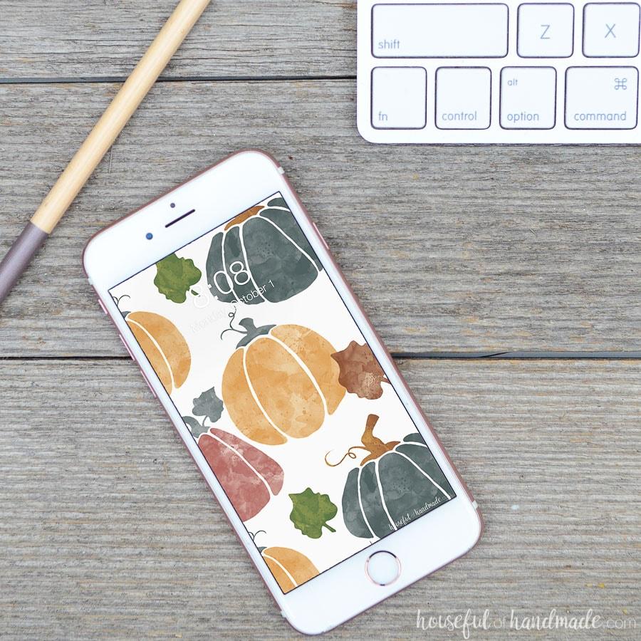Watercolor pumpkin digital wallpaper on a white iPhone.