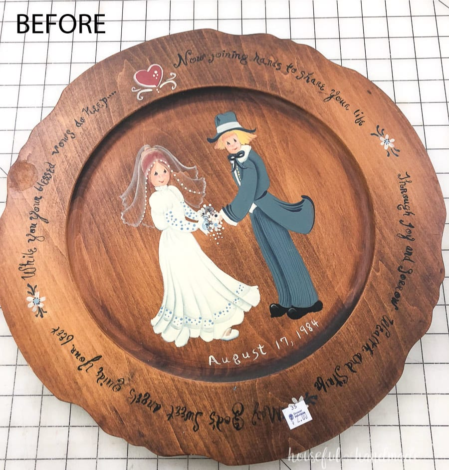 Before of the thrift store art that gets transformed with this upcycled wood sign to tray tutorial.