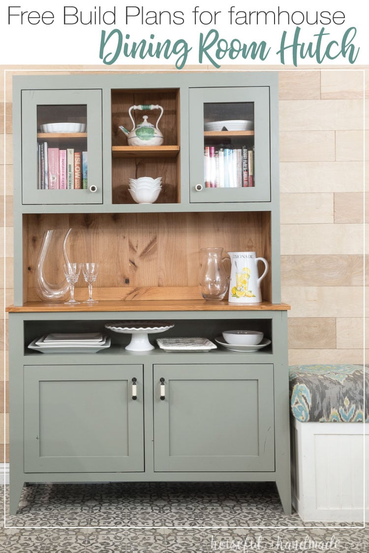 A dining room hutch is the perfect way to add storage and style to your home. Build this 4' wide hutch with these free build plans. Housefulofhandmade.com | #buildplans #hutch #diningroom #kitchen #woodworking