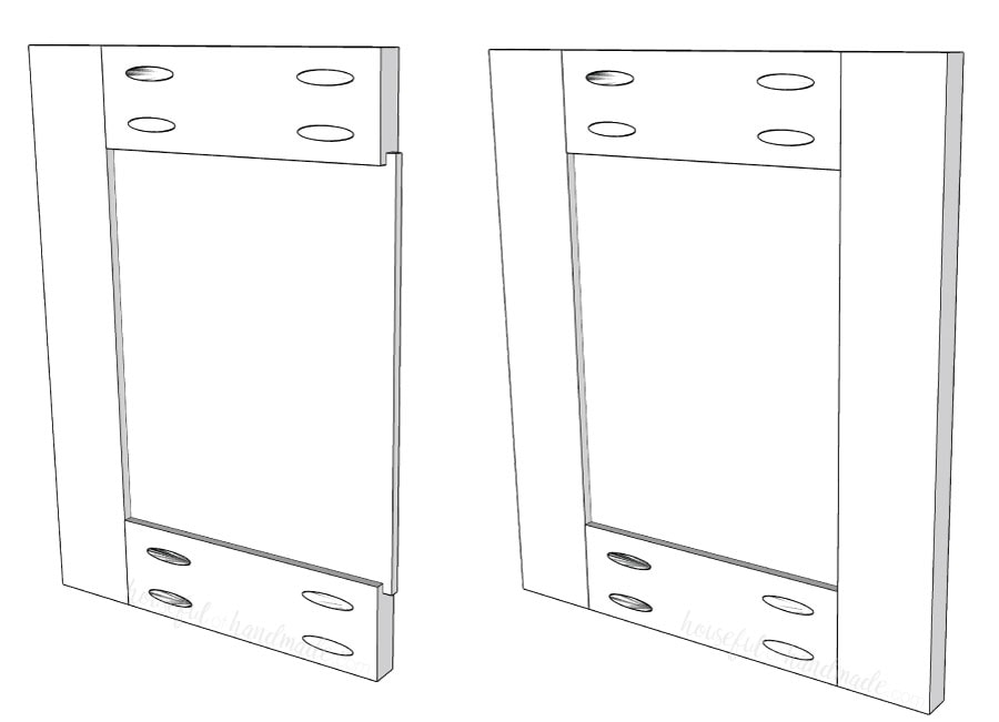 Final steps of building DIY cabinet doors with simple routing: inserting center panel and attaching stile to side.