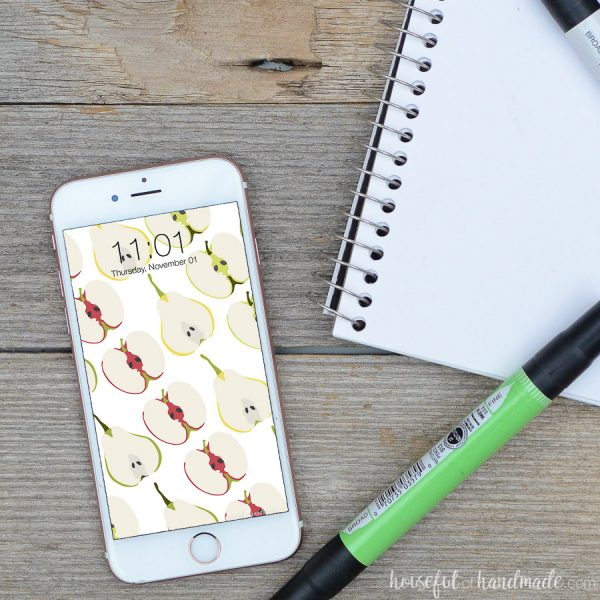 Smartphone with digital wallpaper design on fall fruits on it.