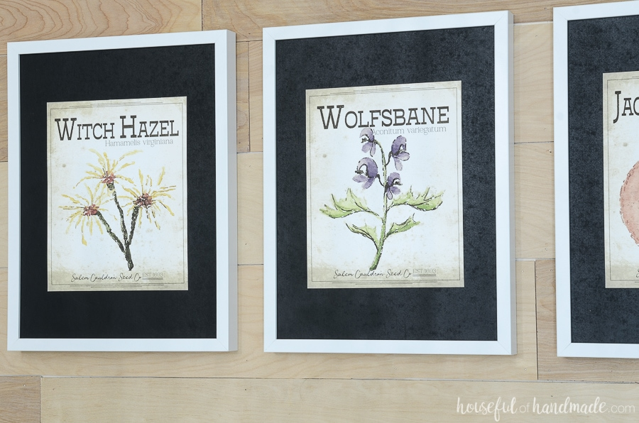 Vintage spooky seed packet art of witch hazel and wolfsbane make the perfect printable Halloween art.
