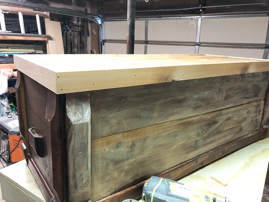 For our upcycled chest to coffee table, a trim piece was added to the base to butt up against the cut legs.