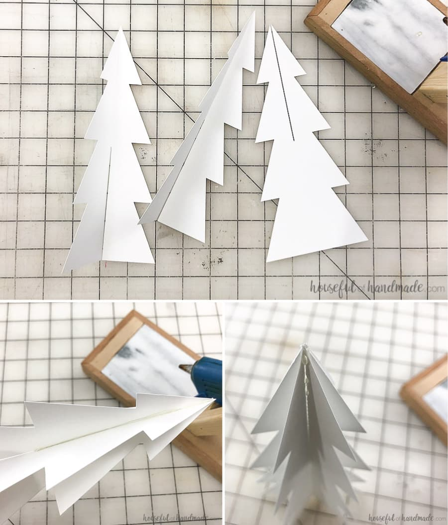 Steps for folding the classic shaped paper Christmas tree.