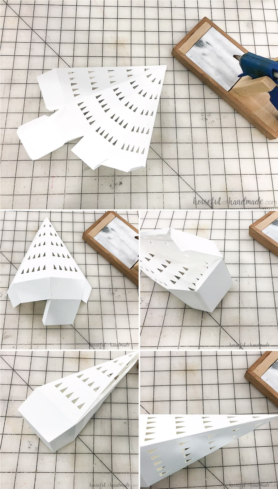 Folding instructions for the modern style paper Christmas tree.