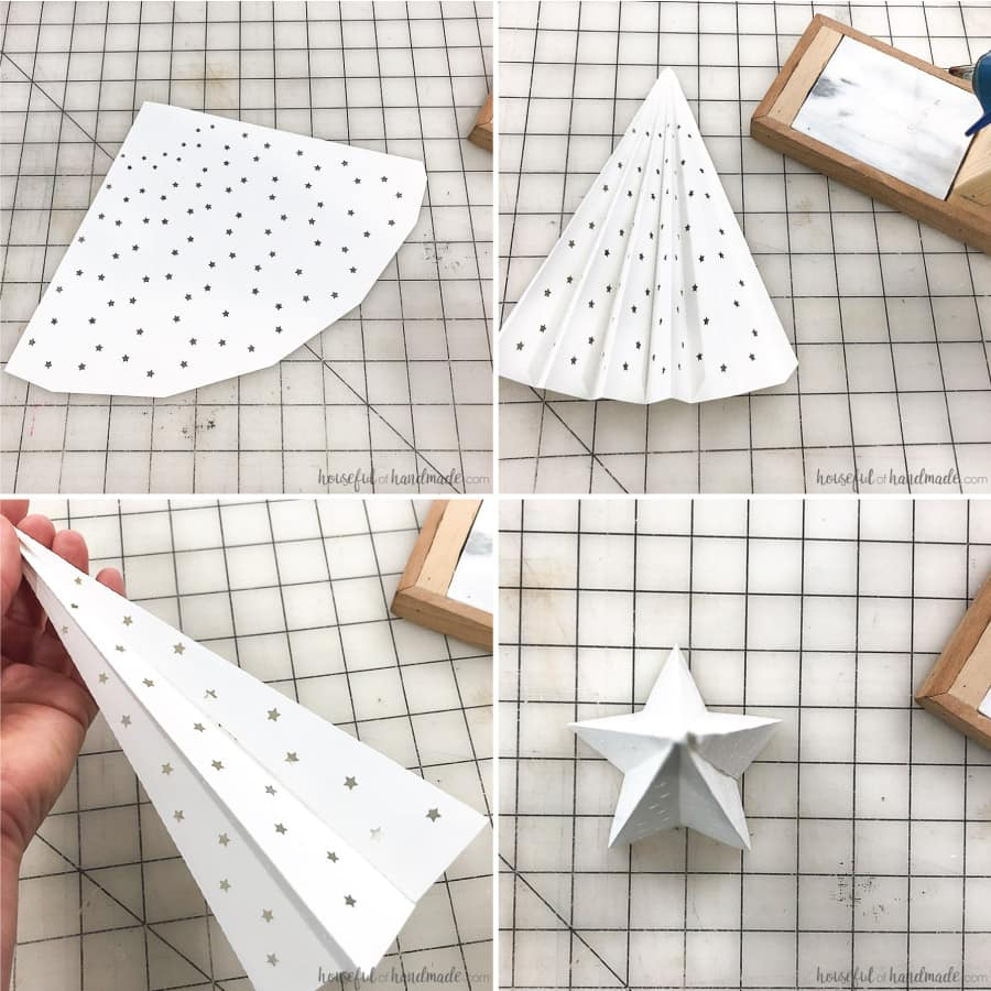 Folding instructions for the star shaped paper Christmas tree.