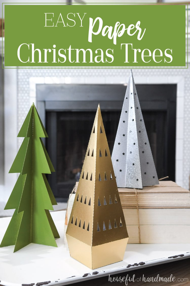 Decorate your home for the holidays on a budget with beautiful paper Christmas decor. These 3 easy paper Christmas trees can be made in many sizes and painted to match any decor. Housefulofhandmade.com | #papercrafts #christmastree #christmas #diy