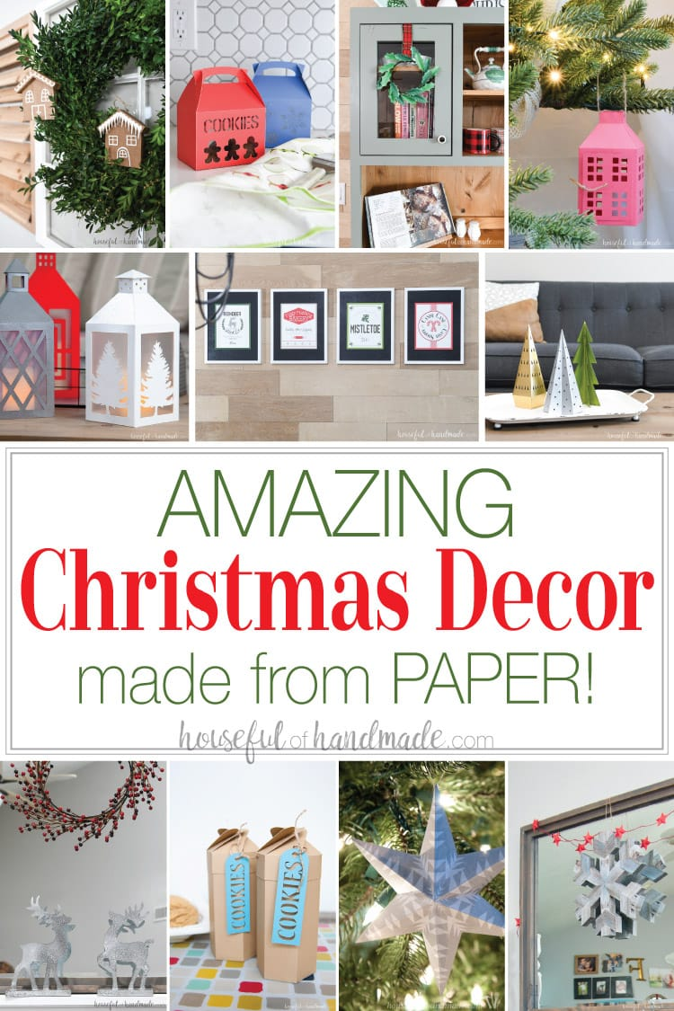 Decorating for Christmas doesn't have to be expensive. These 19 amazing paper Christmas decor ideas will have your halls decked in no time! Anything from trees to reindeer, ornaments to wreaths. Plus unique paper Christmas decorations like advent calendars and items upcycled from paper ready for the trash. Housefulofhandmade.com | #papercrafts #christmas #christmasdecor #upcycle