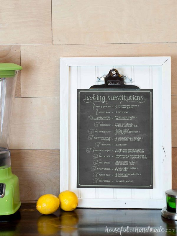 Chalkboard ingredient substitutions chart on a clipboard picture frame.
