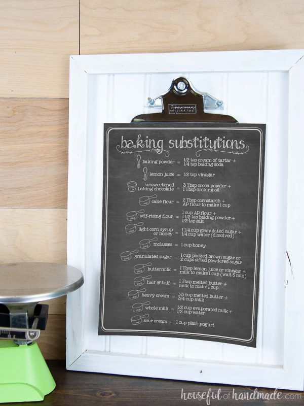 Chalkboard kitchen charts including this ingredient substitutions chart hanging on a white picture frame in the kitchen.