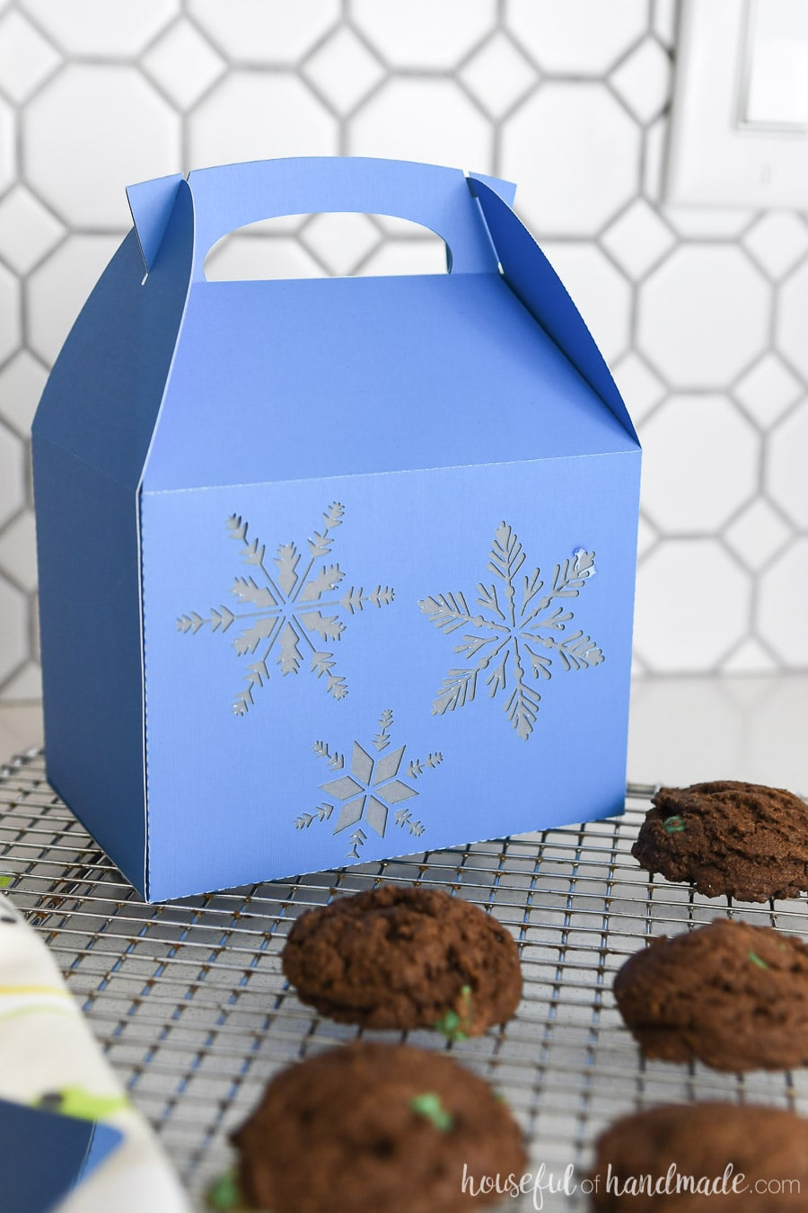 Blue Christas cookie box with snowflake design on a rack with homemade cookies.