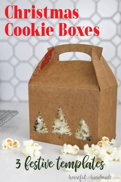 Brown paper cookie box filled with popcorn for a handmade Christmas gift.