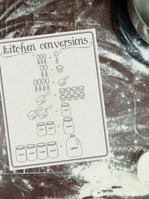 Printable cooking conversions chart on a flour dusted table.