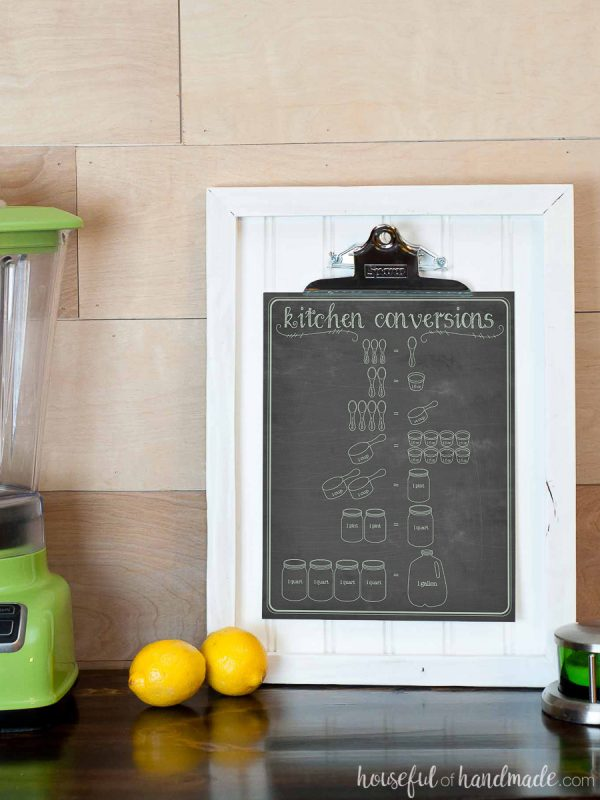 Cooking charts include this mint colored writing on printable kitchen conversions chart on white frame.