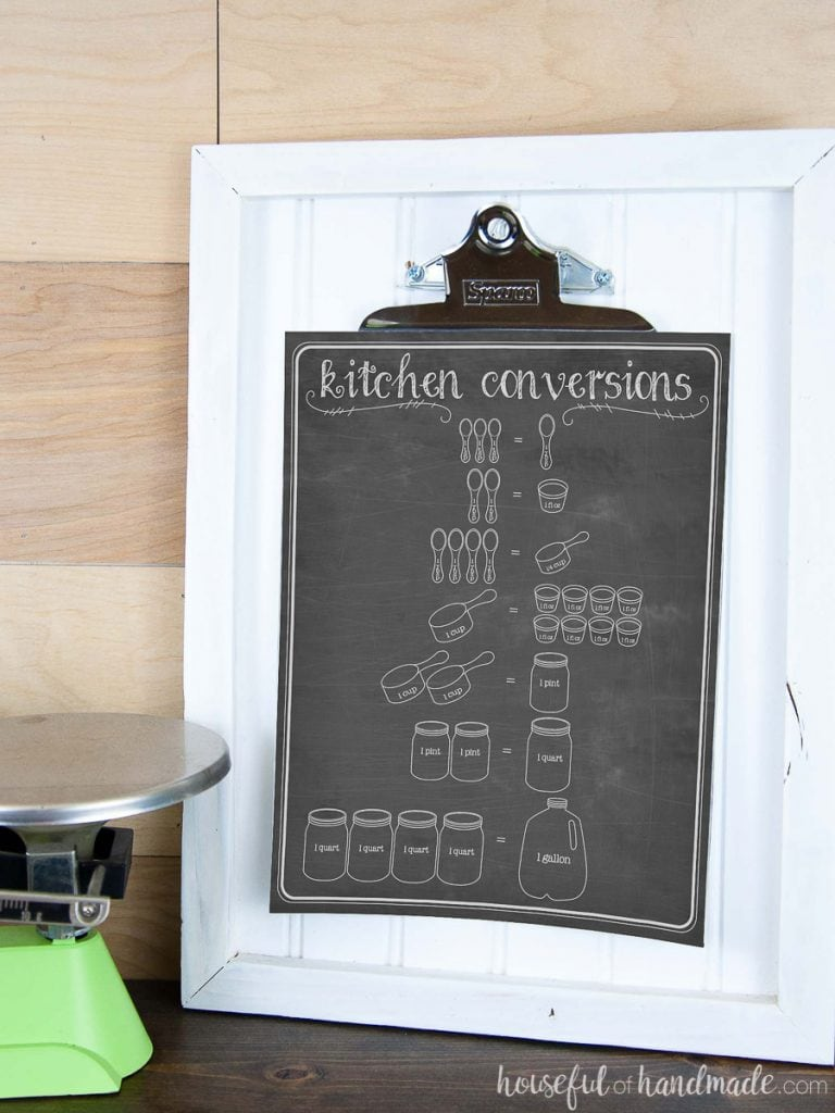 Cooking conversion chart with chalkboard background on clipboard picture frame.
