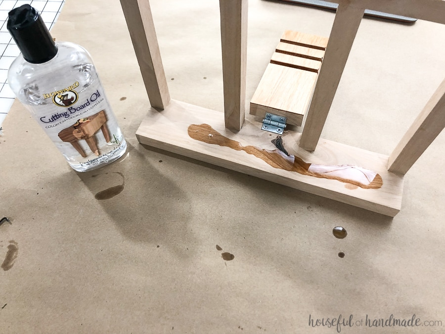 Step 5: Sand and finish all parts of the cookbook stand.