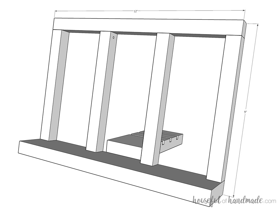 3D sketch of completed cookbook stand with dimensions.