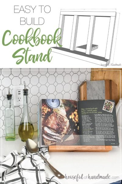 SketchUp drawing of easy to build cookbook stand and finished shot of DIY cookbook stand holding a cookbook in the kitchen.