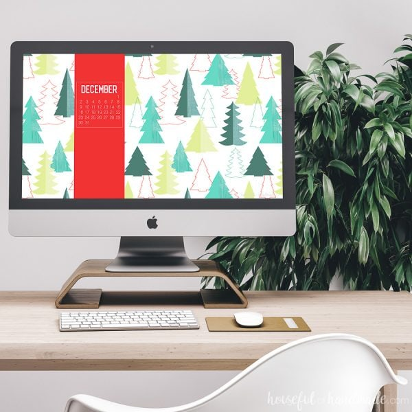 iMac computer with Christmas pattern free digital backgrounds for December on it.