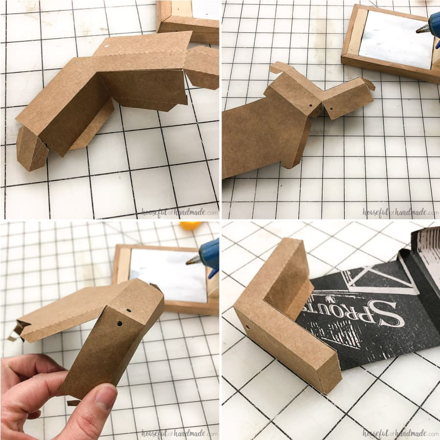Folding steps to create the roof of the gingerbread house paper Christmas decor.