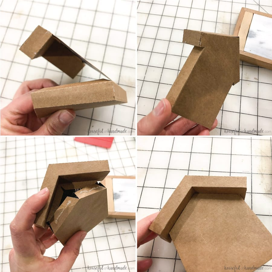 Steps to fold the base of the gingerbread house ornaments out of paper.