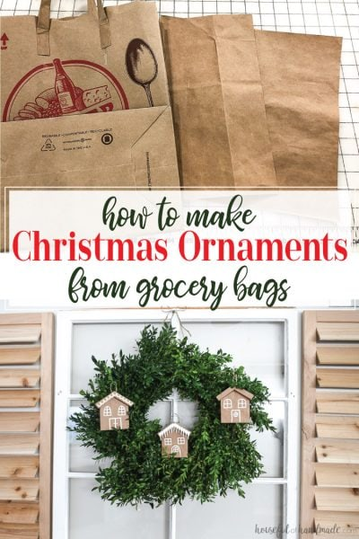 Paper grocery bags turned into gingerbread house paper Christmas ornaments.