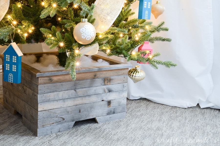 Close up view of the Christmas tree base cover made from reclaimed wood.