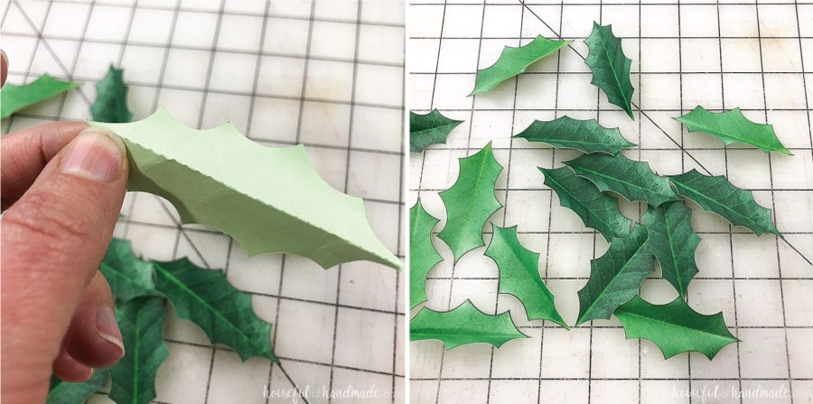 Step 1 of making paper holly wreaths. Folding the paper leaves.