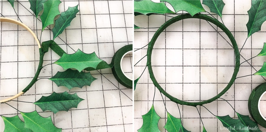 Wrap the embroidery hoop with floral wire to cover for your paper Christmas wreaths.