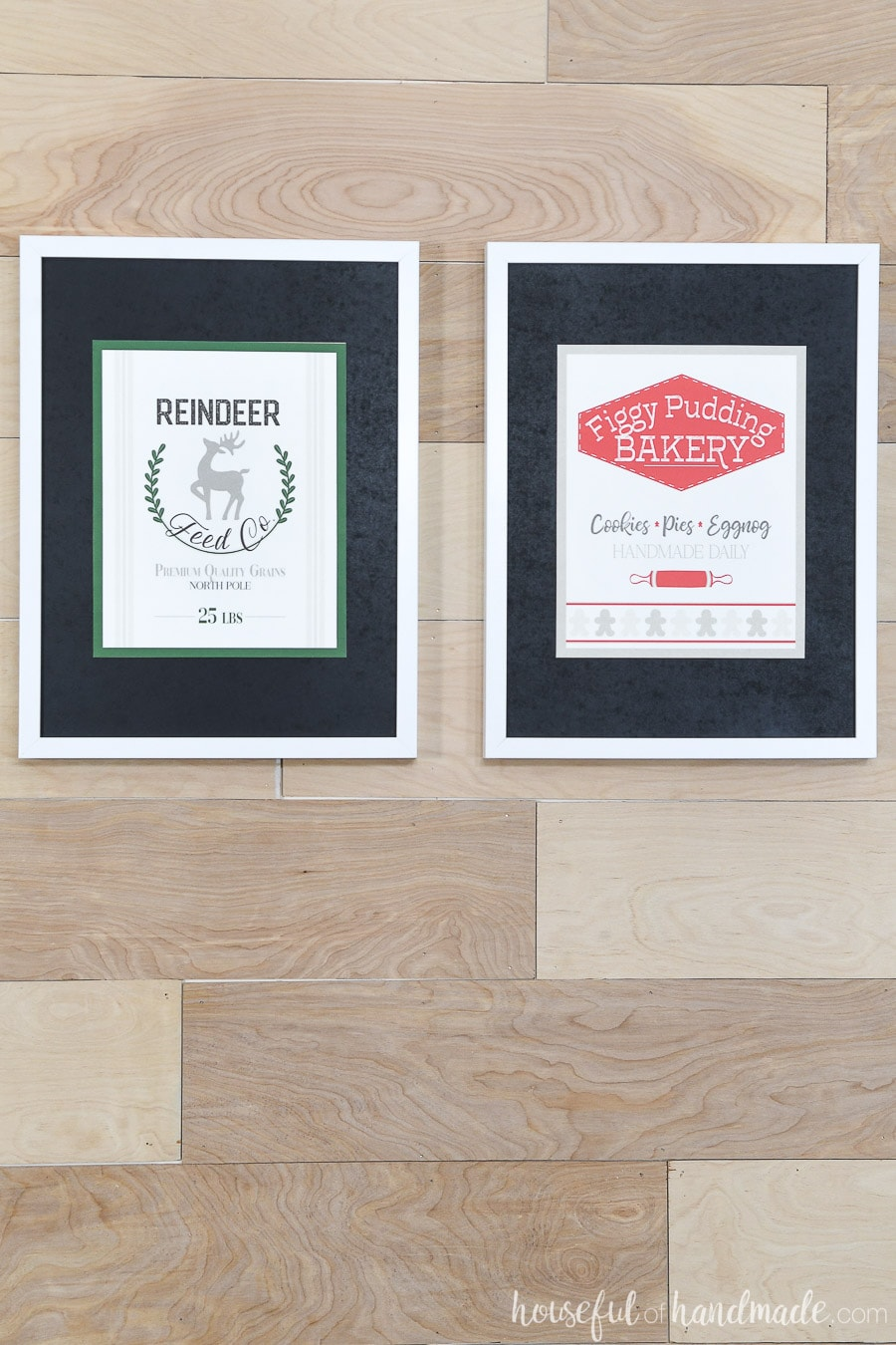Reindeer Feed Co and Figgy Pudding Bakery Christmas printable signs.