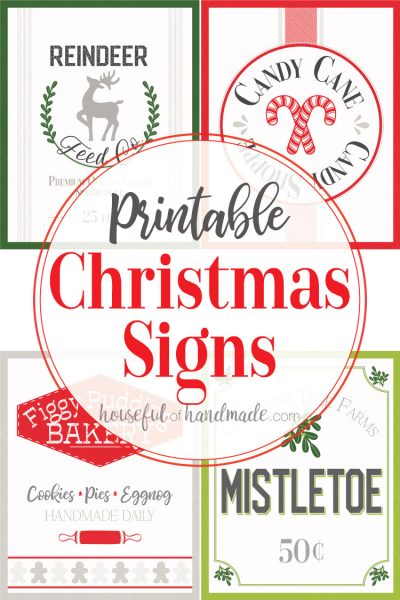 Photo of all 4 of the printable Christmas signs with text overlay.