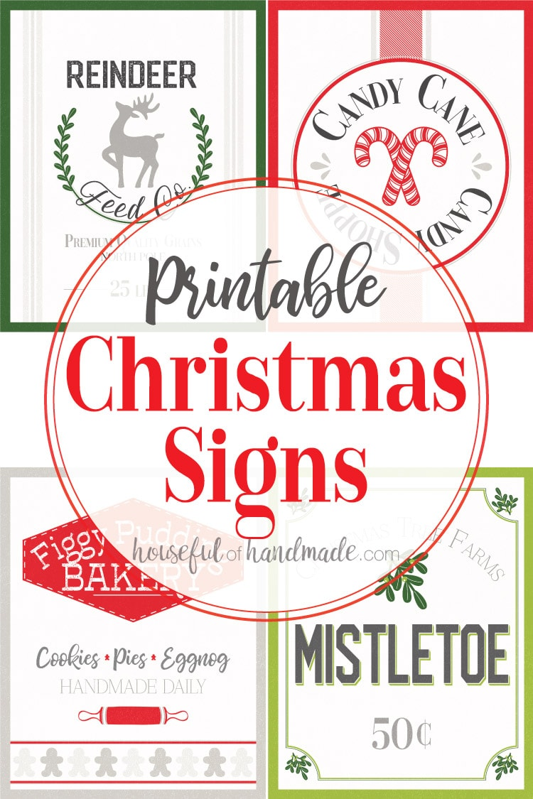 The quickest and easiest way to decorate your home for Christmas is with these vintage inspired printable Christmas Signs. The 4 signs are made to look like vintage North Pole shops: Christmas Tree Farms Mistletoe for Sale, Figgy Pudding Bakery, Reindeer Feed Company, and Candy Cane Candy Shoppe. Housefulofhandmade.com | #christmasart #printable #northpole #vintageinspired