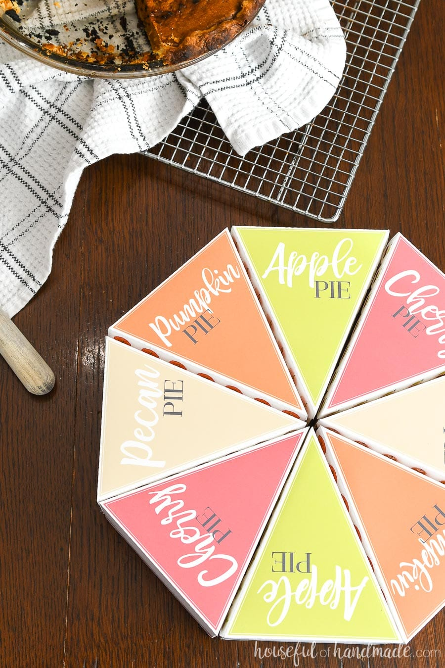 Eight printable leftover pie boxes, each with a different pie name (pecan pie, pumpkin pie, cherry pie, and apple pie).