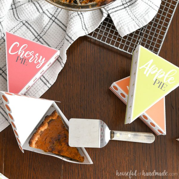 Overhead view of leftover Thanksgiving pie inside the printable leftover pie box containers.
