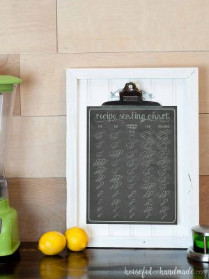 Printable recipe scaling chart on a chalkboard background.