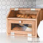 DIY bread box full of artisan bread.