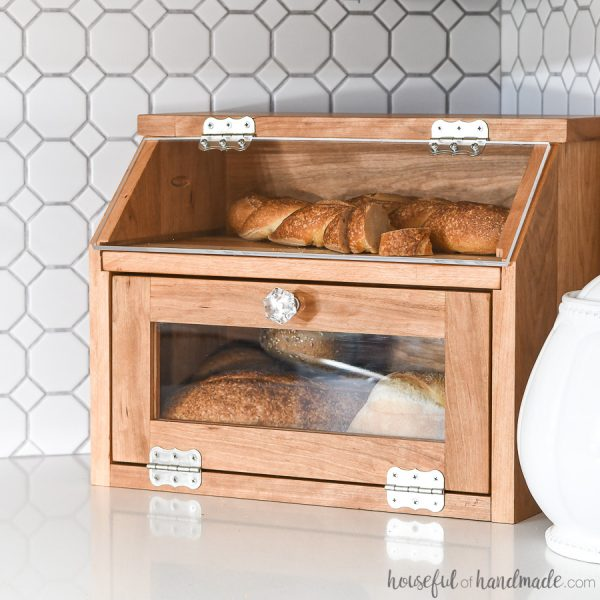 DIY bread box full of artisan bread.